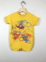 Vintage Gerber Baby Toddler size 18 Months Short Sleeve Romper One Piece Yellow $9.99