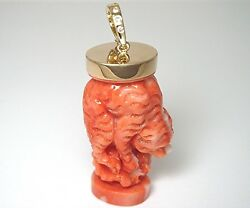 18k yellow gold cap and enhancer Momo coral carving of a wild cat