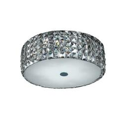 Home Decorators Collection 14 in. 5-Light Chrome Flush Mount with Glass Accents $57.33