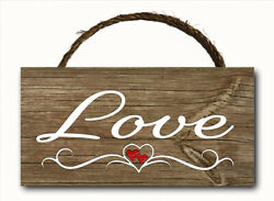 Love Word Script Heart Hanging Wood Plaque Wall Sign Rustic Room Decor 12x6 $12.99