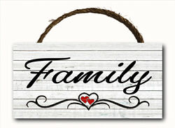 Family Script Word Hanging Wood Plaque Wall Sign Rustic Home Country Decor 12x6 $13.49