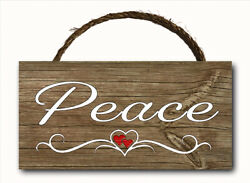 Peace Word Script Heart Hanging Wood Plaque Wall Sign Rustic Room Decor 12x6 $12.99
