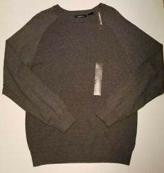Men's Claiborne Charcoal Gray Long Sleeve Crew Neck Pullover Sweater Top L NWT