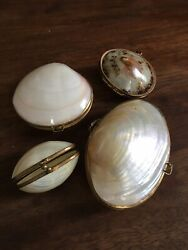 Set Of 4 Vintage Sea She'll Trinket Boxes Coin Pure Pill Box Brass Perfect Cond.