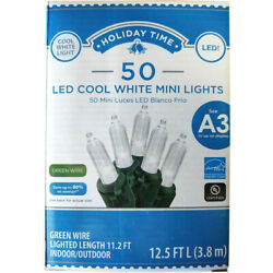 Holiday Time 50 LED COOL White Mini Lights Green Wire Christmas Wedding Decor $10.99
