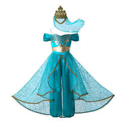 Child Princess Jasmine Fancy Dresses For Girls Kids Aladdin Costume Party Outfit $21.59