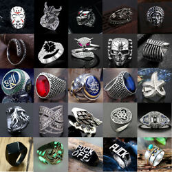 Vintage Mens Silver Stainless Steel Gothic Punk Ring Biker Band Fing