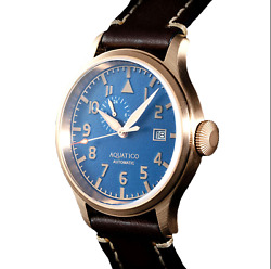✅ AQUATICO BRONZE BLUE ANGELS PILOT BLUE DIAL INTERNATIONAL SHIPPING 🇺🇸 DEALER $299.00