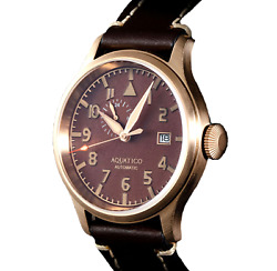 ✅AQUATICO BRONZE BLUE ANGELS PILOT BROWN DIAL INTERNATIONAL SHIPPING 🇺🇸 DEALER $299.00