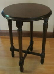 Antique Round Wood Plant Stand 13