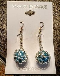 Stylish Ear Rings Fish Hook Silver And Bluish Teal $4.99