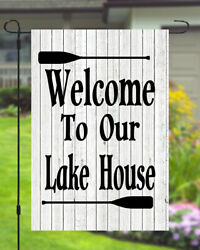 Welcome To Our Lake House Garden Banner Flag 11X14 To 12x18 Wood Style Decor