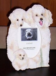 White Poodle 8quot; x 6quot; Handpainted Resin Frame Holds 3 1 2quot;x5quot; Favorite Photo New $15.95