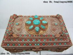Tibet Buddhism Copper Gild and Silver inlay turquoise Red coral jewelry case Box