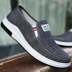 Men's Casual Canvas Breathable Sneakers Driving Loafers Slip on Shoes US