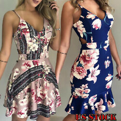 Bandage Lace Floral Short Mini Dress For Women Slim Casual Summer Beach Sundress