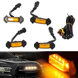 Set of 4 Grille Amber Led Lights Kit For Toyota Tacoma TRD Grill 2016-2019
