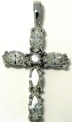 Ladies 14k white gold Marquise and round diamond cross with box chain