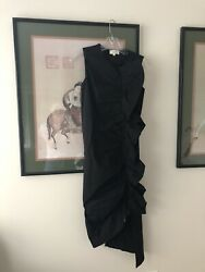 Isa Arfen Black Cotton Poplin Sleeveless Ruffle Dress Size 6 Or 2