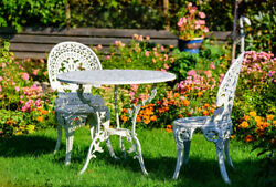 Angel White Garden Bistro Set with 26 in. Dia Table and Two Chairs for Yard 3 P