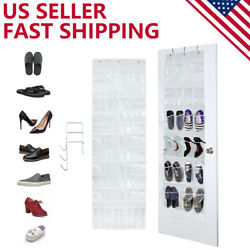 24 Pocket Clear Over The Door Shoe Pantry Closet Cabinet Organizer Rack White  $10.99
