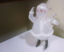 Skating Acrylic Frosted Snowman Figurine 9 14