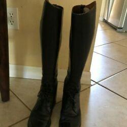 Dehner Custom Made Black Leather Women's Equestrian RidingField Boots Sz 7.5