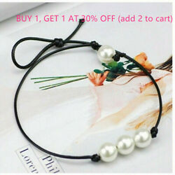Jewelry Choker Three White Imitation Pearl Black Leather Cord Knot Necklace