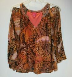 Sunny Leigh Women#x27;s Large novelty print blouse open shoulder bat wing sleeve $10.99