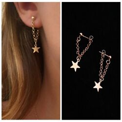 Creative Gold Star Hanging Long Chain Tassel Earring Omega back Jewelry