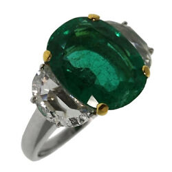 18ct Gold 5.69ct Emerald & Diamond Cocktail Ring - Certified (LL263)