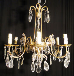 Antique french bronze and glass chandelier Solid bronzes Carved glass pieces