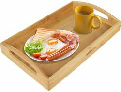 Greenco Rectangle Bamboo Butler Serving Tray With Wide Handles