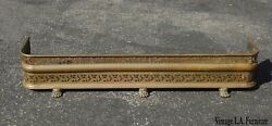 Vintage French Country Brass Fireplace Fender w Oriental Asian Foo Dog Feet $525.00