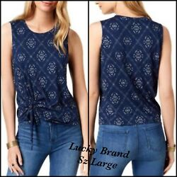 LUCKY BRAND $40 Womens New Navy Printed Tie Waist  Top Large