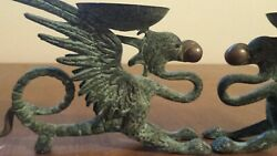 Antique Vintage Pair Brass Bronze Dragon Candle Holders Pearl in Mouth Chinese $125.00