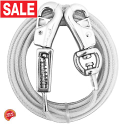Dog Chain Tie Out Cable Heavy Duty Extra Long Leash Beast Spring Metal Vinyl New