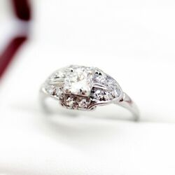 Art Deco Diamond Engagement Ring with Early Cut VS2H .55ct Diamond center st...