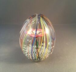 Italian Decor Murano Hand Blown Glass Egg 3 .75quot; Tall with Pink Flower $95.00