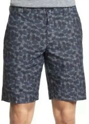 Mens Ben Sherman Vinyl Record Print Chambray Cotton Shorts NWT Size 36