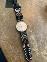 NIB Gorgeous Rebecca Minkoff Major Gold Tone Embroidered Leather Women's Watch