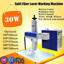 US 30W Split Fiber Laser Marker Laser Marking Machine with Rotation Axis FDA CE $4287.30
