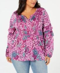 Style Co Womens Top 0x Purple Floral Peasant Long Sleeve Crochet Plus Size New $12.95