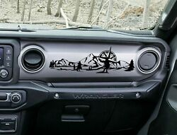 Dashboard Decal for Jeep Wrangler JL JT Mountain w Compass Scene v2 Vinyl Decal