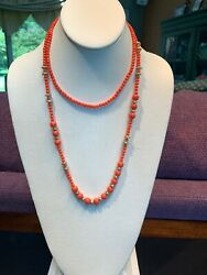 Vintage Gold Lot If 2 Two Necklaces For Layers Orange Glass Lucite 14~22