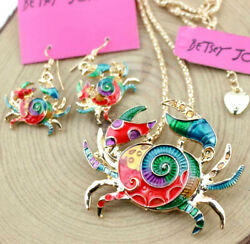 Set Pendant Jewelry Betsey Johnson color Rhinestone fashion Earring and Necklace