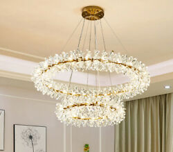 LED Clothing Store Crystal Ring Chandelier Study Lights Pendent Lamp Bar Fixture