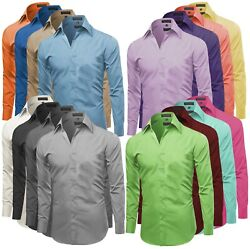 Omega Italy Men#x27;s Premium Slim Fit Button Up Long Sleeve Solid Color Dress Shirt $22.99