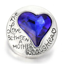 5X Love Heart Crystal Chunk Charm Snap Button Fit 18mm Drill Noosa Jewelry 65-5