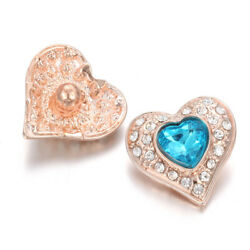 5X Love Heart Crystal Chunk Charm Snap Button Fit 18mm Drill Noosa Jewelry 64-4